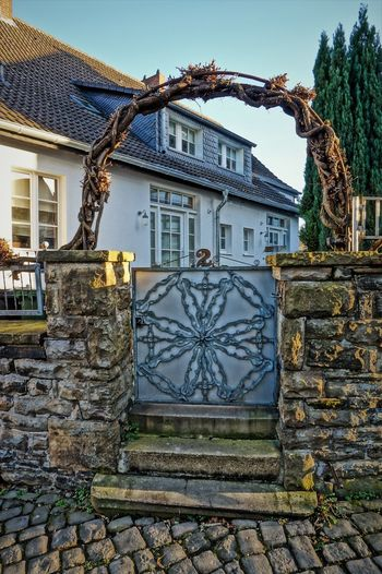 Garden door Architecture Building Exterior Built Structure City Day Framehouses Herdecke In Westphalia No People Old Town Square Outdoors Sky Small Town Tradition Village Photography