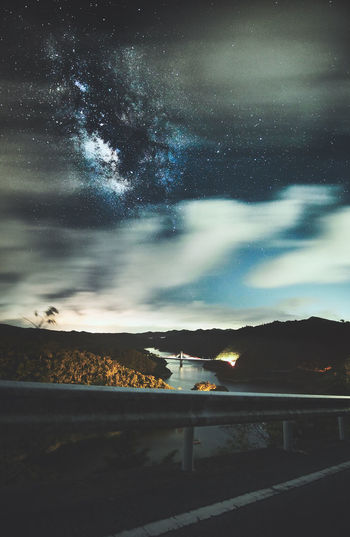 view of the milky way rising over the bright bridge in a lake. EyeEm Best Shots EyeEm Nature Lover Road Astronomy Astrophotography Beauty In Nature Bridge - Man Made Structure Cloud - Sky Landscape Milky Way Nature Night No People Outdoors Road Roadtrip Scenics - Nature Sky Space Star - Space Tranquil Scene Tranquility Transportation Travel Destinations Water