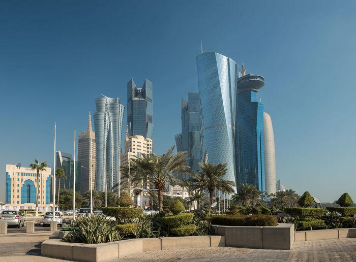 Modern Skyscrapers Against Clear Blue Sky