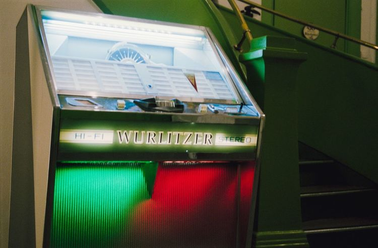 35 Mm Film Photography Cafe Pruckel Music Vintage Green Jukebox Wurlitzer Text Green Color Communication Indoors  No People Low Angle View Day