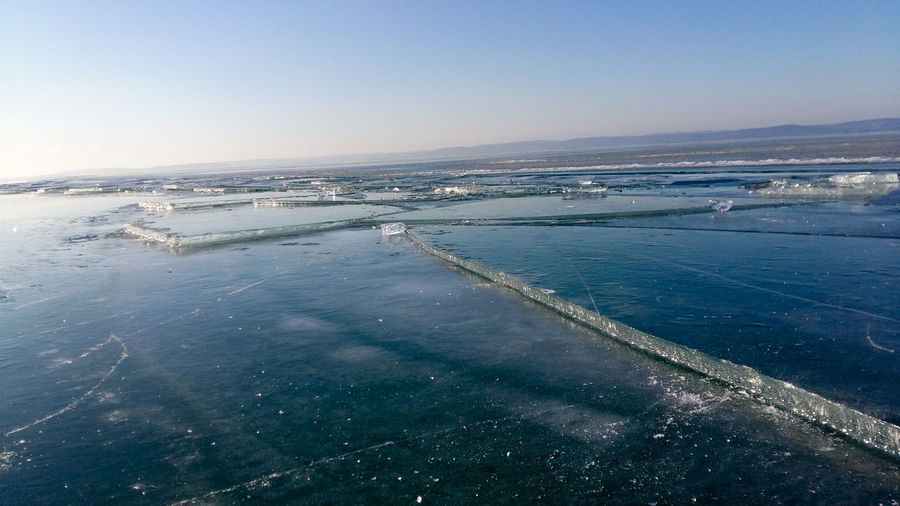 Aerial view of sea against clear sky during winter