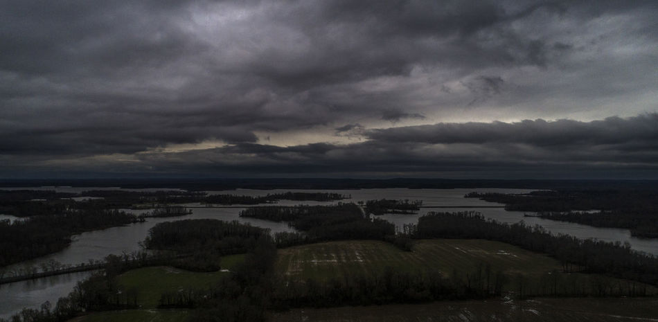 A storm moves through Williamson County, Illinois over Crab Orchard Lake. Cloud Drone  Storm Aerial View Beauty In Nature Cloud - Sky Clouds And Sky Day Dramatic Sky Environment Illlinois Lake Landscape Nature No People Non-urban Scene Ominous Outdoors Overcast Scenics - Nature Sky Storm Storm Cloud Tree Water