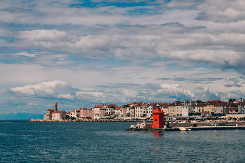 Piran/Pirano Sky Sea Slovenia Sea Side Sea And Sky Sea Side Town Clouds Water Big Water Town View Europe Travel Travel Photography