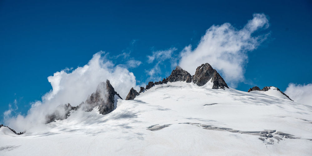 View of snow covered mountains against sky