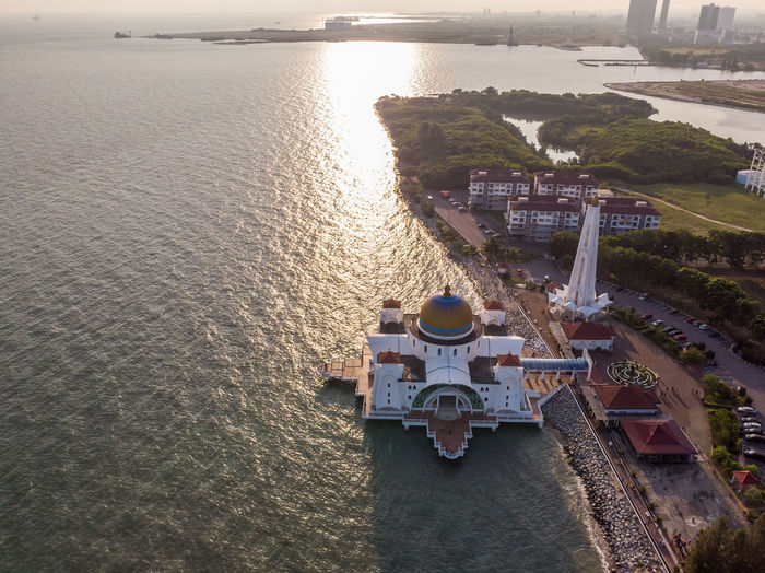 Melaka Straits Mosque, Malaysia Water High Angle View Nature Sea Transportation Built Structure Architecture No People Day Travel Scenics - Nature Beauty In Nature Outdoors Waterfront Building Exterior Sunlight Tranquility Melaka Malacca Malaysia Mosque Melaka Straits Mosque Drone  Droneshot