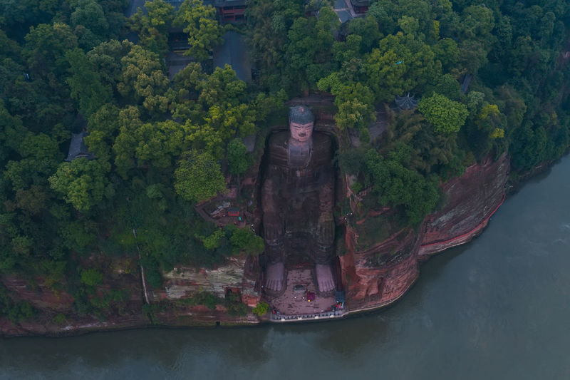 Leshan Giant Buddha China Sichuan Leshan Giant Buddha Buddha Buddha Statue Statue Art River Water Travel Travel Destinations Architecture Mountain Rock - Object Tree History Nature Beauty In Nature Sculpture Outdoors Plant Growth Green Color Scenics - Nature Waterfront No People Environment Day Tourism Tranquility Land Tranquil Scene Aerial View