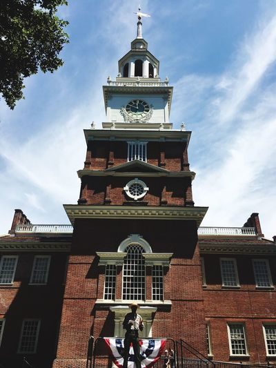 Building Exterior Architecture Built Structure Low Angle View Sky Cloud - Sky Outdoors Day Spirituality Place Of Worship Clock Tower No People City Clock Patriotism Independence Independence Hall Philadelphia