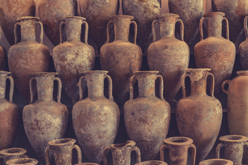 Amphorae Amphore Pastel Power Abundance Antique Arrangement Art And Craft Backgrounds Choice Close-up Container Craft Full Frame History In A Row Indoors  Large Group Of Objects No People Old Order Repetition Roman Side By Side Still Life Vessels