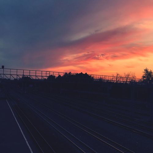 #romantic #orangesky #pinksky #Train #sunrise #reflection