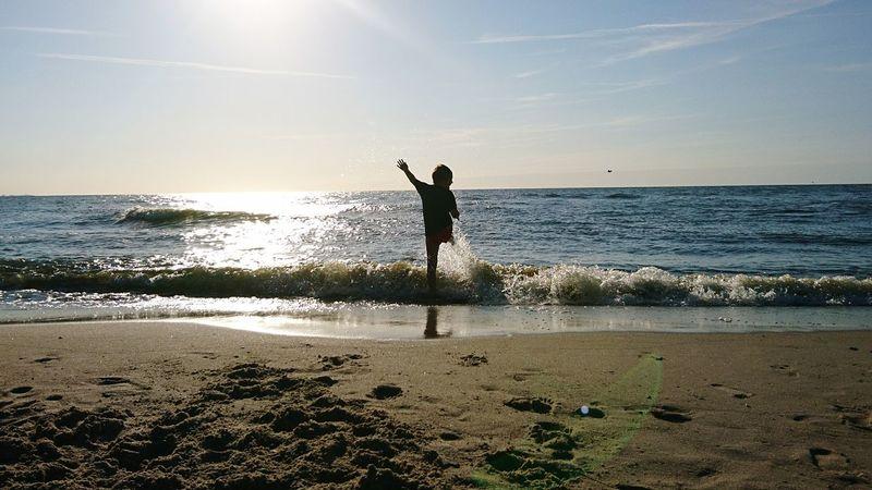 Joy Joy Of Life Happiness Child Childhood Enjoying Life Fun Beach Sea Horizon Over Water One Person Sunlight Sand Water Outdoors Full Length Day Nature