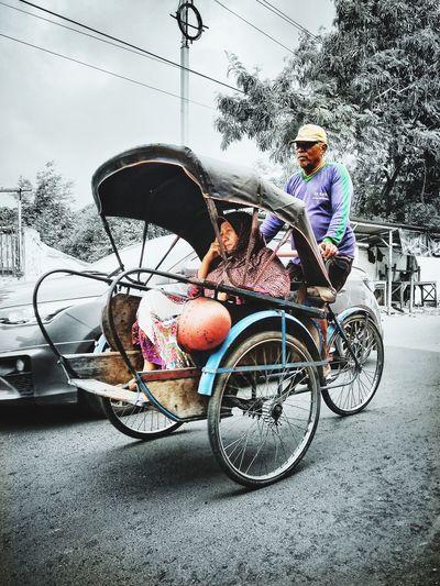 traditional transportation BECAK #jawatengah Visitindonesia INDONESIA Java Indonesiabagus Central Java Becak Transportation Traditional Legend Men Land Vehicle Car Road Bicycle City Street Sky Riding Cycling