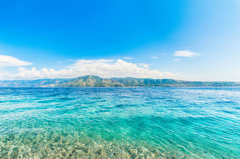 A view of the strait of messina in a sunny day of summer.