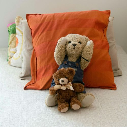 Close-Up Of Soft Toys Against Cushion