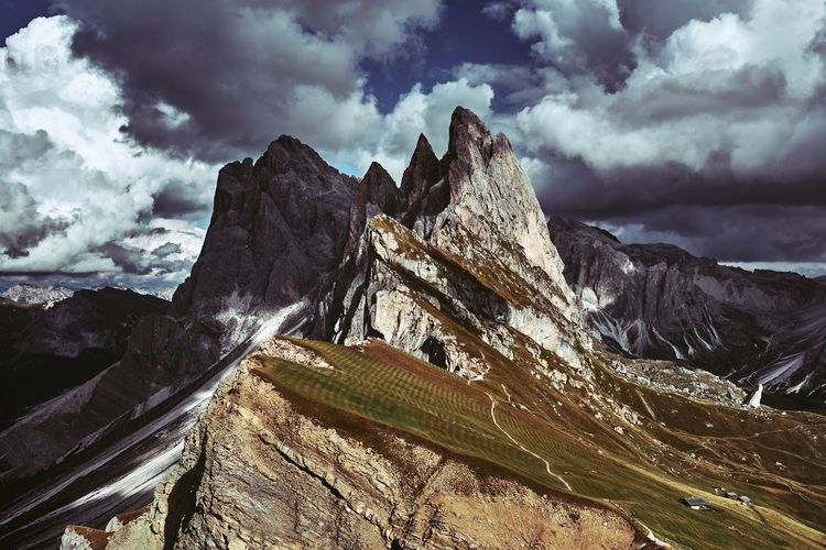 Seceda, Italy Cloud - Sky Sky Mountain Beauty In Nature Scenics - Nature Nature Environment No People Tranquil Scene Mountain Range Landscape Day Non-urban Scene Snow Tranquility Remote Winter Outdoors Rock Mountain Peak Formation Snowcapped Mountain Italy Dolomites Stormy Weather