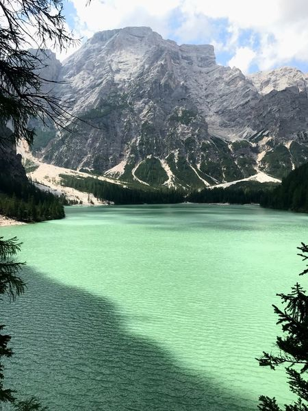 Mountain Beauty In Nature Nature Scenics Water Snow Waterfront Lake Tranquil Scene Tranquility Landscape Snowcapped Mountain Sky Outdoors Mountain Range No People Day Tree Dolomites, Italy