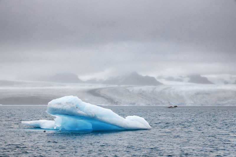 High angle view of iceberg in sea