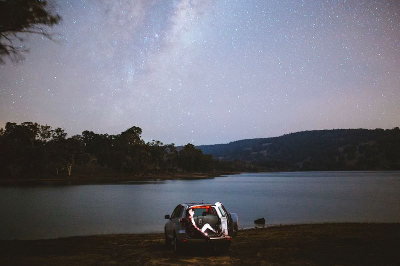 Night Sky Star - Space Water Scenics - Nature Lake Beauty In Nature Nature Transportation Astronomy Star Field Space Tranquil Scene People Men Space And Astronomy Tranquility Star
