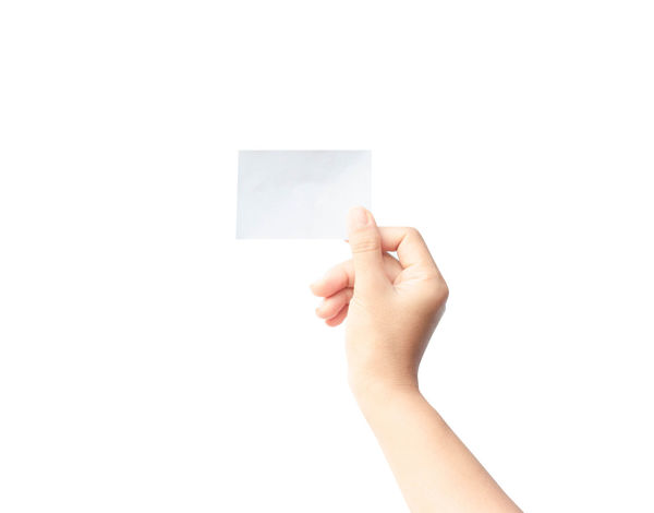 Woman hand holding blank paper isolated on white background. Business Blank Card; Design; Empty; Female; Finger; Hand Hands; Holding; Human Hand Isolated; Letter; Message; One Person Paper People; Person; Sign; Alert; Center; Equipment; Bell; Danger; Rescue; Break; Button; Space; White Background Woman;s Shoes