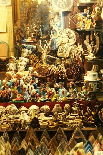 For Sale Retail  Figurine  Store Souvenir Market Large Group Of Objects Multi Colored Statue Egypt Egyptphotography Pharaoh Egypt Cairo Cairobeauty Egyptian Lover Egyptian Bazaar