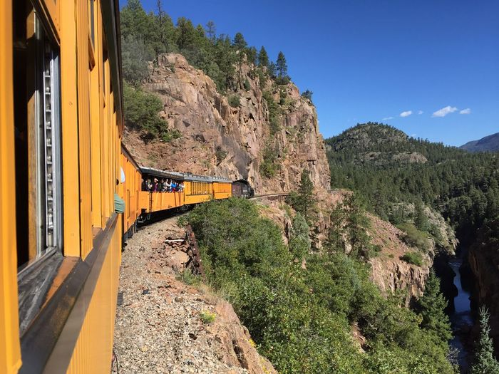 Colorado Tree Plant Built Structure Sky Architecture Nature Transportation Growth Day Sunlight Mode Of Transportation Rail Transportation Train Mountain Train - Vehicle No People Public Transportation Outdoors Blue