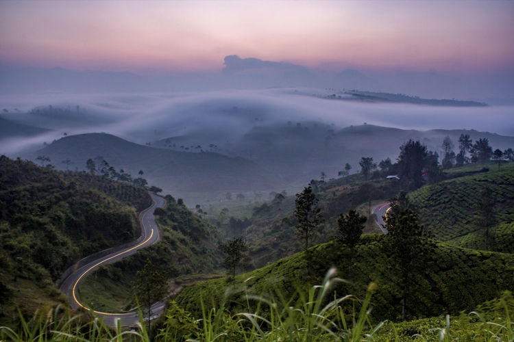 Sky Cloud - Sky Scenics - Nature Landscape Mountain Beauty In Nature Tree Nature Fog Plant No People Land Outdoors