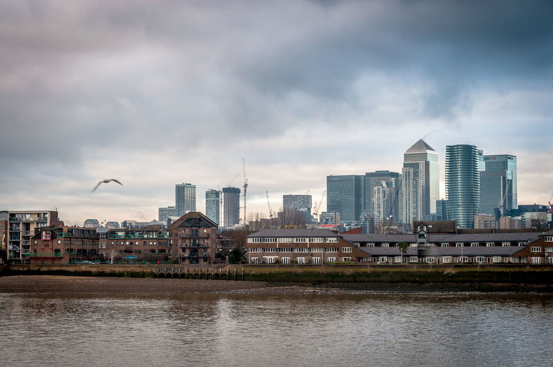 Landscape Canary Wharf Seagull River Thames Sky And Clouds Business