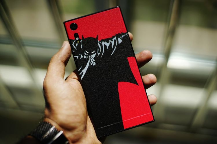 Phone Phones Sticker Batman Skin Cool Awesome EyeEm Selects Human Hand Red Gift Holding Close-up