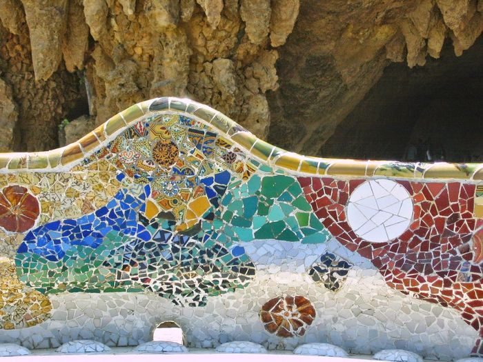 Detail of a colored mosaic bench in the Park Guel of Barcelone in Spain. Colored Bench Day Travel Destination Day Gaudy Mosaic Art Multi Colored Nature No People Outdoors Park Guel Mosaic Full Frame Stalactite  Cave Detail Textured