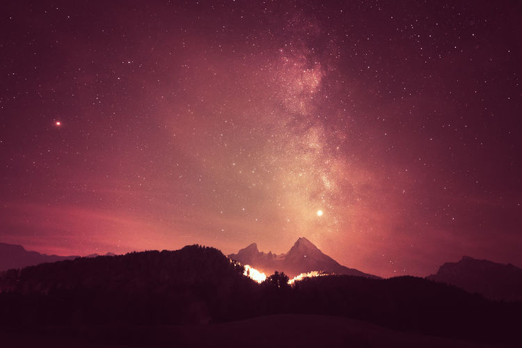 Astronomy Beauty In Nature Galaxy Idyllic Majestic Milky Way Mountain Mountain Peak Mountain Range Nature Night No People Non-urban Scene Outdoors Scenics - Nature Silhouette Sky Snowcapped Mountain Space Star Star - Space Tranquil Scene Tranquility