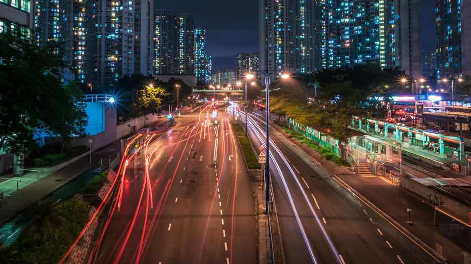 City Cityscape Illuminated Rush Hour Motion Tree Road Long Exposure Speed Light Trail