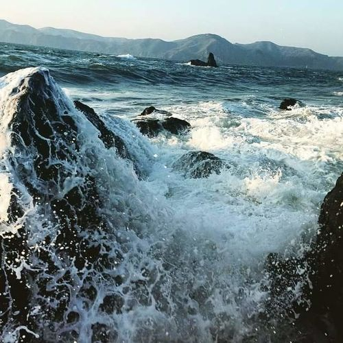 Mile Rock Beach Beauty In Nature Day Force Motion Mountain Nature No People Outdoors Power In Nature Rough Scenics Sea Sky Water Wave