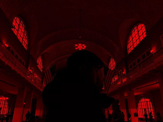 red Ellis Island Immigration Museum Sihouette  One Person Indoors  Adults Only People Silhouette Red