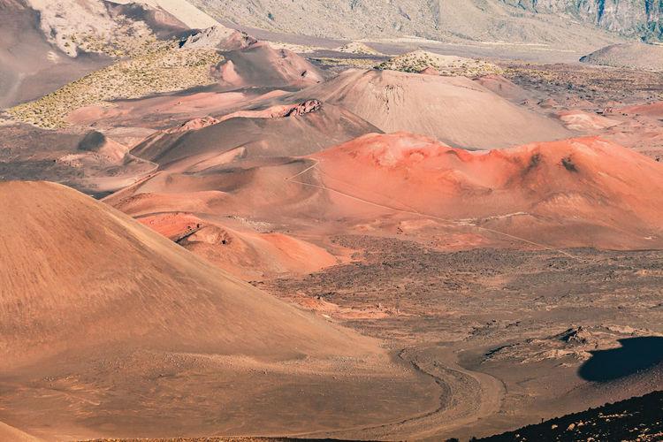 High angle view of arid land in maui, hawaii