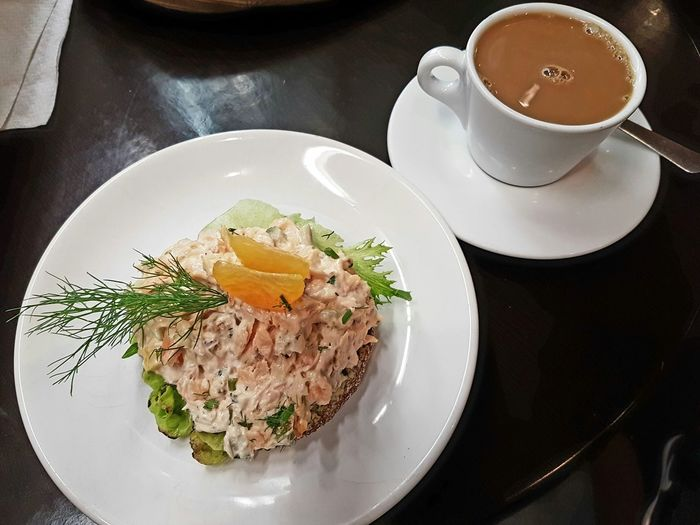 Salmon Sandwich Salmon Sandwich Coffee Cup Of Coffee From Above  Snack Healthy Eating Food Freshness Plate Ready-to-eat Indoors  Organic Food Organic