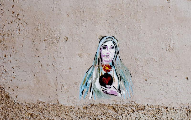 street art Palermo, Sicily, Italy Human Representation Spirituality Religion Creativity Female Likeness Art And Craft Wall No People Street Art Graffiti Irony Message Bomb Fire Palermo