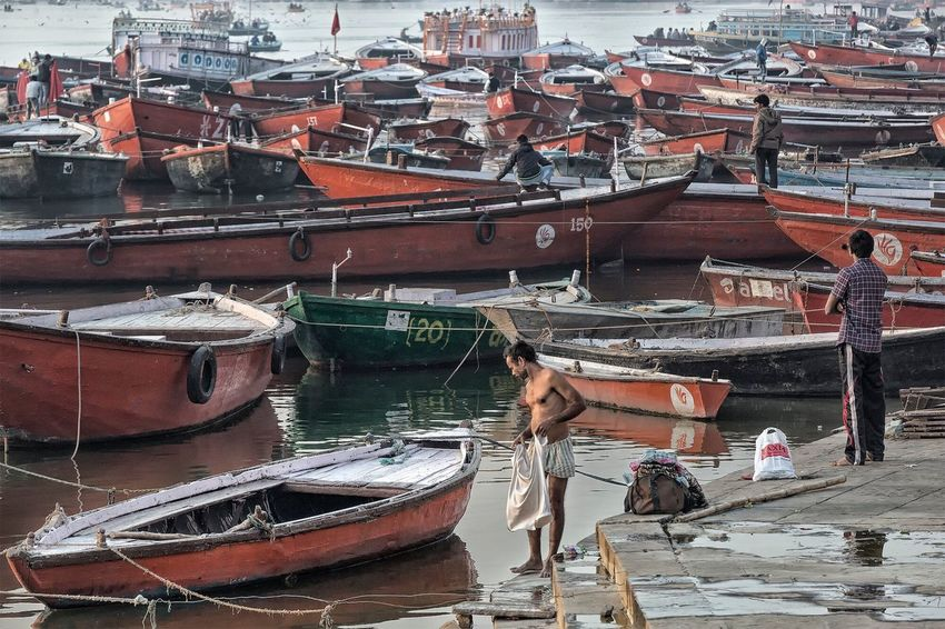 Activity at the Ganges river in Varanasi Uttar Pradesh. January 20, 2017. Real People Lifestyles Moored Streetphotography River Documentary EyeEm Best Shots - People + Portrait Street Photography Ganges River Travel People Photography Boat India Storytelling Check This Out Travel Photography Indian Varanasi Nautical Vessel Incredible India