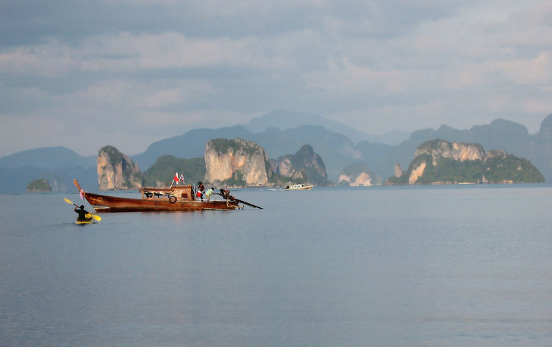 Beauty In Nature Colourful Nature Coulours  Day Mode Of Transport Mountain Mountain Range Nature Nautical Vessel Outdoors People On Boat Row Boat Scenics Sea Sky Thailand Kho Ya Noi Thailand Photos Tranquility Transportation Water TCPM Paint The Town Yellow