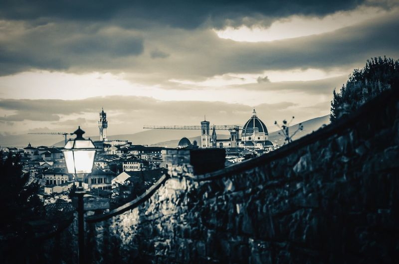 Florence at twilight in monochrome. Florence Tuscany Firenze Il Duomo Duomo Santa Maria Del Fiore Evening Evening Light Evening Sky Tourism Italy Monochrome Monochrome Photography Black And White Black And White Photography Travel Stone Wall Wall Clouds And Sky Uffizi Street Light Street Lamp Toscana Your Ticket To Europe