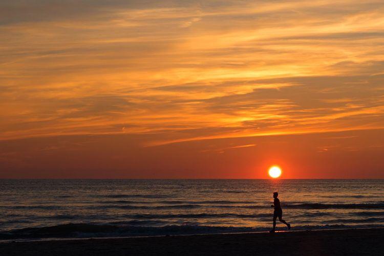 Running at sunset Sunset Sea Horizon Over Water Beach Scenics Silhouette Sky Water Tranquil Scene Orange Color Sun One Person Running Beach Nightphotography Vacations Summer Summertime Netherlands Egmond Aan Zee