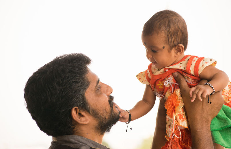 Daughter's Love Baby #FatherDaughterPicture Men Bonding Males  Togetherness Childhood Love Child Lifestyles Adult Mid Adult Men Indoors  Side View Emotion Headshot Mid Adult Family With One Child Portrait Real People Positive Emotion Daughter Mature Men