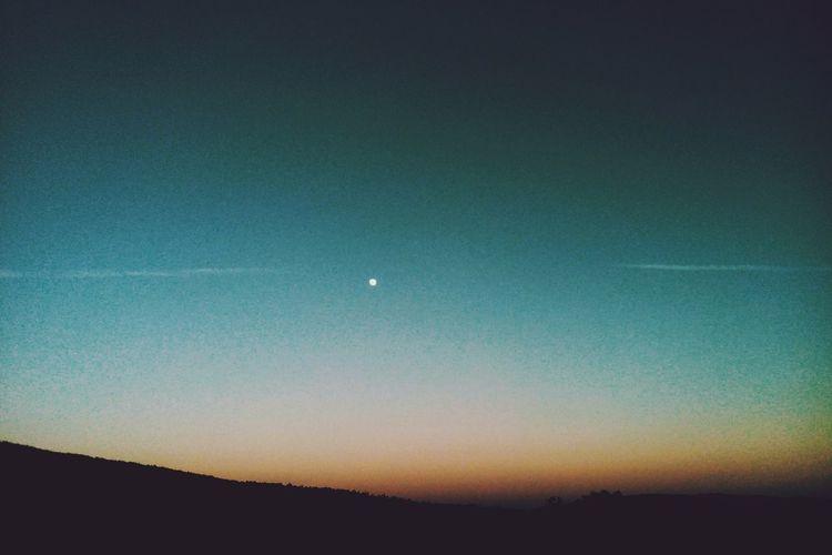 Sunset Autumn Moon Sky