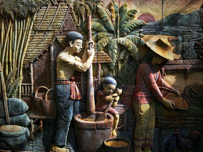 Sandstone Sunlight And Shadow Surface Native Life Ancient Antique Thai Farmer Brick Wall Decorations Arts Culture And Entertainment Human Representation Art And Craft Sculpture Carving - Craft Product Art