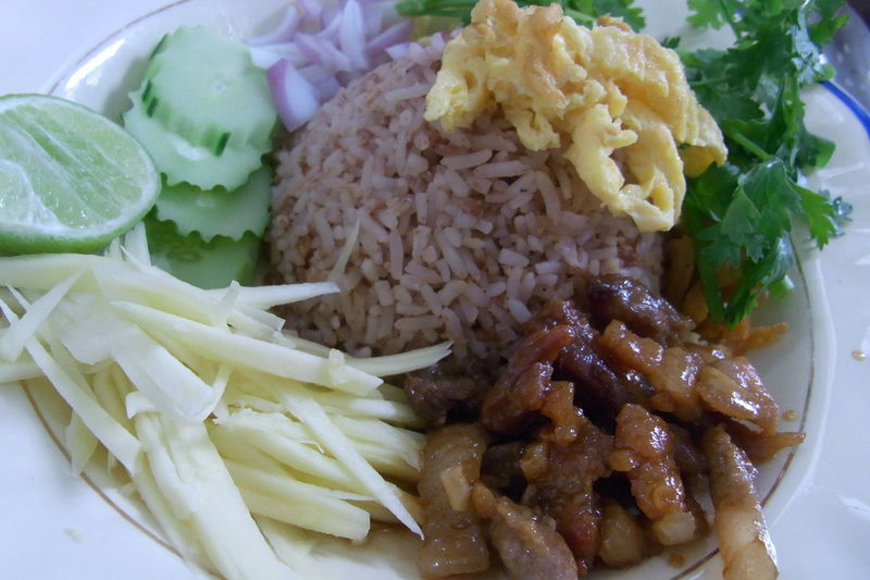 Close-up Food Food And Drink Freshness Healthy Eating High Angle View Indoors  Indulgence No People Plate Ready-to-eat Rice With Shrimp Paste Shrimp Paste Still Life Vegetable