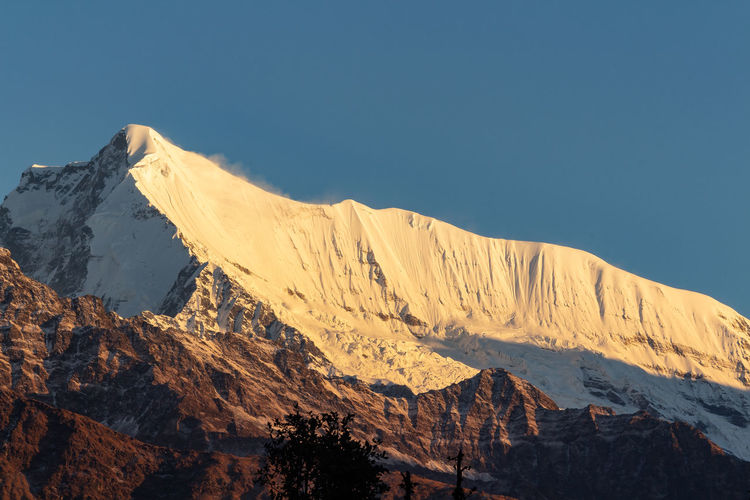 Shot of maiktoli peak as seen on the way to the pindari glacier hike in october 2018.