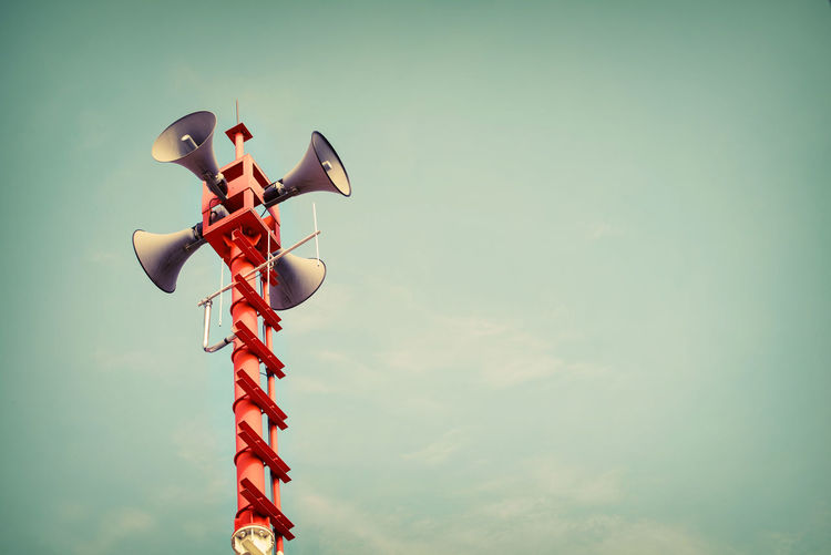 Horn speaker for public relations sign symbol, vintage color Horns Relation  Sound Broadcasting Communication Day Loudspeakers Low Angle View Megaphone News No People Outdoors Public Relations Retro Style Retro Styled Sky Speak Technology Vintage Voice