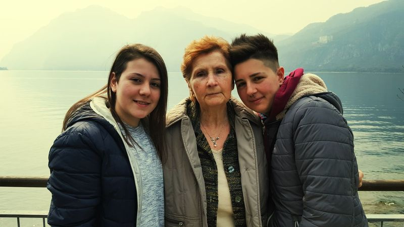 Sister Grandma Family Day Lecco Lake Italy View Lake Easter Evening 🗻🌊