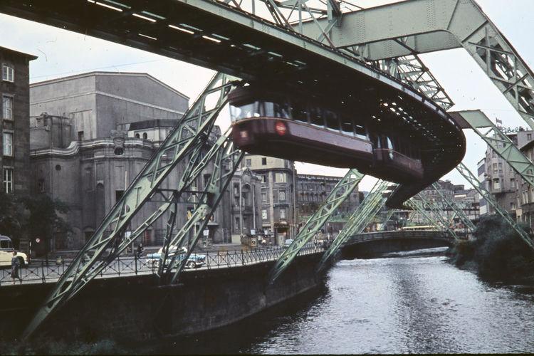 Public transportation over river in city
