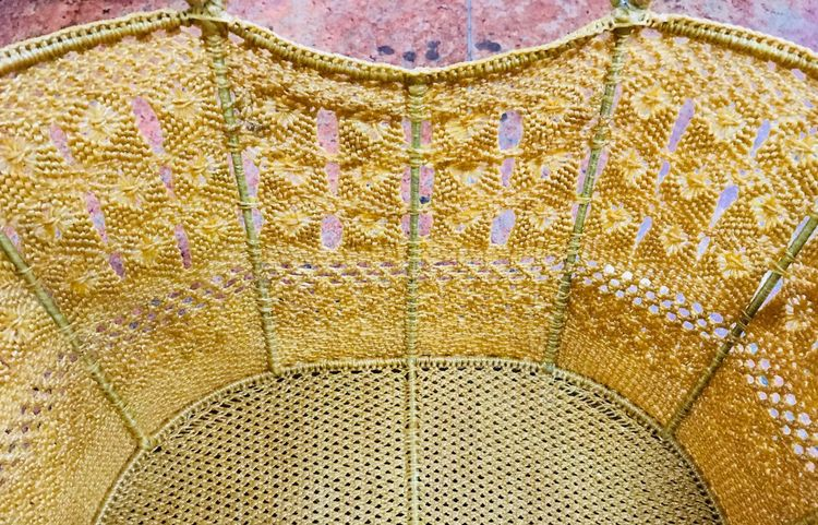 A handmade basket woven from rattan and bamboo Gold Colored Woven Baskets Handmade Rattan Baskets Pattern Design No People Art And Craft Close-up Indoors  EyeEmNewHere