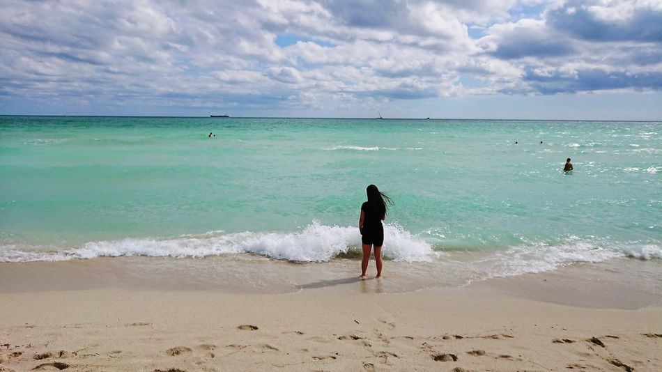 First Eyeem Photo Beach Sand Sea Horizon Over Water Nature Vacations Sky People Full Length Beauty In Nature Water Healthy Lifestyle Cloud - Sky Day Lifestyles Tranquility Summer Leisure Activity Outdoors Miami Beach Miami Southbeachmiami Miamibeach Southbeach