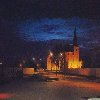 Nyirbator Hungary Church Night lights sky clouds mik Cities At Night 43 Golden Moments